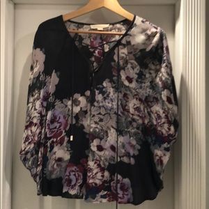 Love stitch pancho style floral blouse